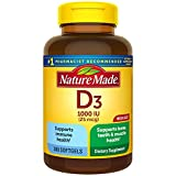 Nature Made Vitamin D3, 300 Softgels, Vitamin D 1000 IU (25 mcg) Helps Support Immune Health, Strong...