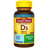 Nature Made Extra Strength Vitamin D3 5000 IU (125 mcg) Softgels, 180 Count for Bone Health†...