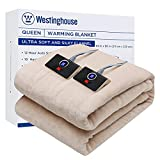 Westinghouse Electric Blanket Queen Size 84'x90' Heated Throw Soft Silky Plush Flannel Heating...