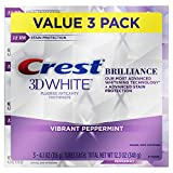 Crest 3D White Brilliance Vibrant Peppermint Teeth Whitening Toothpaste, 4.1 oz, Pack of 3...
