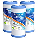 PUREPLUS 5 Micron 10' x 4.5' FXHTC Whole House Big Blue Sediment and Activated Carbon Water Filter...