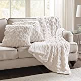 Comfort Spaces Ruched Faux Fur Plush 3 Piece Throw Blanket Set Ultra Soft Fluffy With 2 Square...