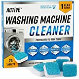 Washing Machine Cleaner Descaler 24 Pack - Deep Cleaning Tablets For HE Front Loader & Top Load...