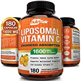 NutriFlair Liposomal Vitamin C 1600mg, 180 Capsules - High Absorption, Fat Soluble VIT C,...