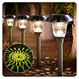BEAU JARDIN 8 Pack Solar Lights Bright Pathway Outdoor Garden Stake Glass Stainless Steel Waterproof...