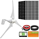 ECO-WORTHY 1400W Wind Solar Power Kit: 400W DC 24V Wind Turbine Generator 3 Blade with Controller &...