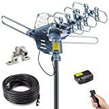PBD Outdoor Digital Amplified HDTV Antenna, 150 Mile Motorized 360 Degree Rotation, Wireless Remote...